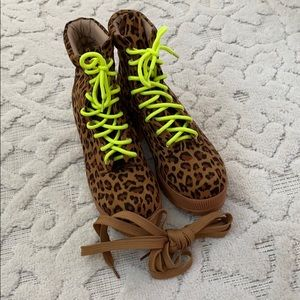 Chase + Chloe Shoes - Leopard Neon Platform Combat Boots